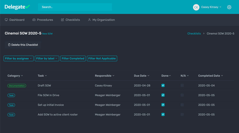 Screenshot of a process management application called Delegate (www.delegatehq.com)